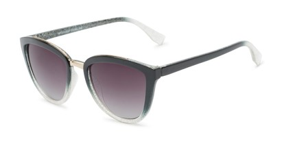 Angle of Flora #2552 in Black/Clear Glitter Frame with Smoke Lenses, Women's Cat Eye Sunglasses