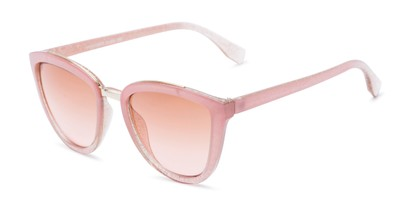 Angle of Flora #2552 in Pink Glitter Frame with Pink Lenses, Women's Cat Eye Sunglasses