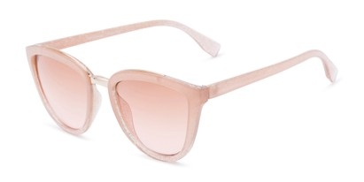 Angle of Flora #2552 in Light Pink Glitter Frame with Pink Lenses, Women's Cat Eye Sunglasses