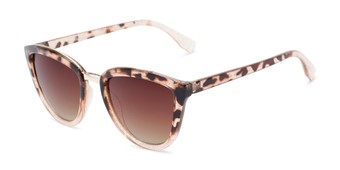Angle of Flora #2552 in Tortoise Glitter Frame with Amber Lenses, Women's Cat Eye Sunglasses