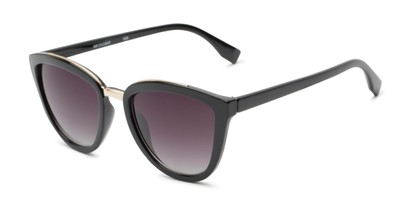 Angle of Flora #2552 in Black Frame with Smoke Lenses, Women's Cat Eye Sunglasses