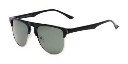 Angle of Floyd #2032 in Black/Gold Frame with Green Lenses, Women's and Men's Browline Sunglasses