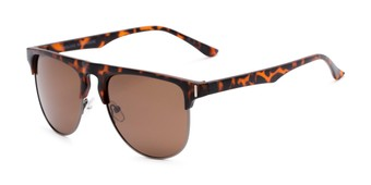 Angle of Floyd #2032 in Tortoise/Grey Frame with Amber Lenses, Women's and Men's Browline Sunglasses
