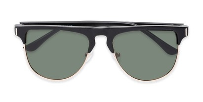 Folded of Floyd #2032 in Black/Gold Frame with Green Lenses