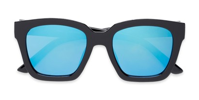 Folded of Foley #2884 in Black Frame with Blue Mirrored Lenses