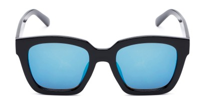 Front of Foley #2884 in Black Frame with Blue Mirrored Lenses