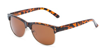 Angle of Folsom #8395 in Dark Tortoise Frame with Amber Lenses, Women's and Men's Browline Sunglasses