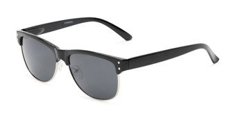 Angle of Folsom #8395 in Black Frame with Grey Lenses, Women's and Men's Browline Sunglasses