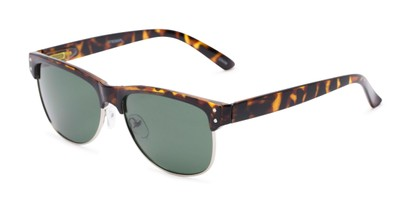 Angle of Folsom #8395 in Light Tortoise Frame with Green Lenses, Women's and Men's Browline Sunglasses