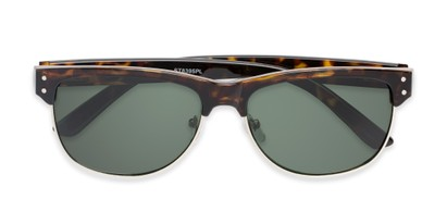 Folded of Folsom #8395 in Light Tortoise Frame with Green Lenses