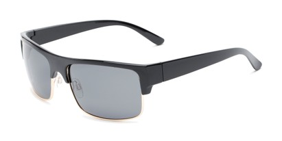 Angle of Ford #7031 in Glossy Black/Gold Frame with Smoke Lenses, Men's Browline Sunglasses