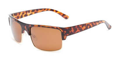 Angle of Ford #7031 in Glossy Tortoise/Gold Frame with Amber Lenses, Men's Browline Sunglasses