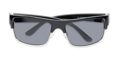 Folded of Ford #7031 in Glossy Black/Silver Frame with Smoke Lenses
