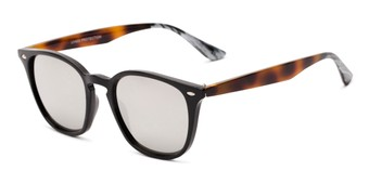 Angle of Franklin #5126 in Black/Tortoise Frame with Silver Mirrored Lenses, Women's and Men's Retro Square Sunglasses