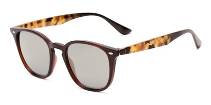 Angle of Franklin #5126 in Brown/Camo Frame with Gold Mirrored Lenses, Women's and Men's Retro Square Sunglasses