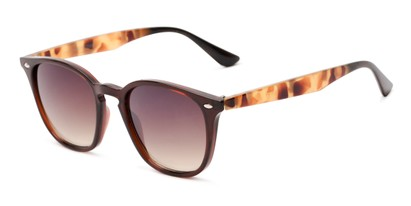 Angle of Franklin #5126 in Brown/Camo Frame with Amber Lenses, Women's and Men's Retro Square Sunglasses