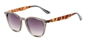 Angle of Franklin #5126 in Grey/Camo Frame with Smoke Lenses, Women's and Men's Retro Square Sunglasses