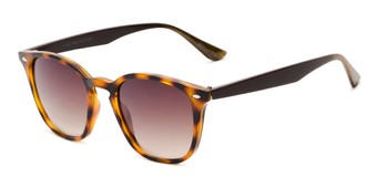 Angle of Franklin #5126 in Tortoise/Brown Frame with Amber Lenses, Women's and Men's Retro Square Sunglasses