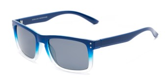Angle of Garcia #2034 in Blue Frame with Smoke Lenses, Women's and Men's Retro Square Sunglasses