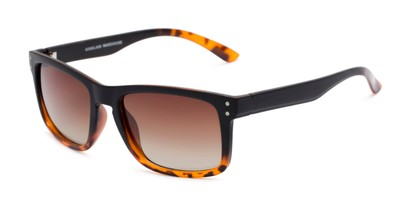 Angle of Garcia #2034 in Tortoise/Black Frame with Amber Lenses, Women's and Men's Retro Square Sunglasses