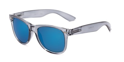 Angle of Garnet #6030 in Grey/Clear Frame with Blue Mirrored Lenses, Women's and Men's Retro Square Sunglasses
