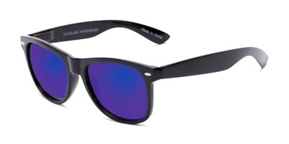 Angle of Garnet #6030 in Black Frame with Blue Mirrored Lenses, Women's and Men's Retro Square Sunglasses