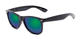 Angle of Garnet in Black Frame with Blue/Green Mirrored Lenses, Women's and Men's Retro Square Sunglasses