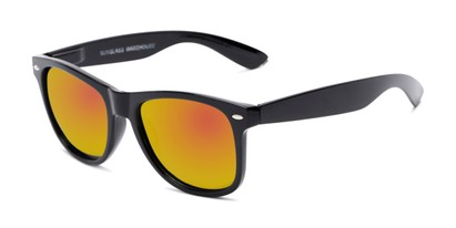 Angle of Garnet #6030 in Black Frame with Orange Mirrored Lenses, Women's and Men's Retro Square Sunglasses