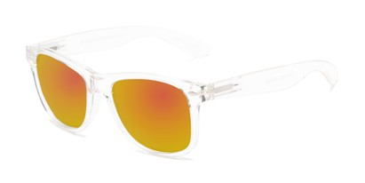 Angle of Garnet #6030 in Clear Frame with Orange Mirrored Lenses, Women's and Men's Retro Square Sunglasses