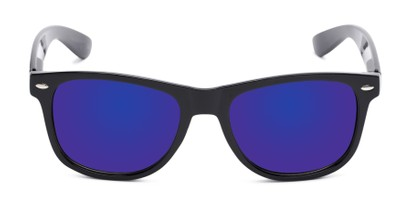 Front of Garnet in Black Frame with Blue Mirrored Lenses