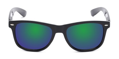 Front of Garnet in Black Frame with Blue/Green Mirrored Lenses