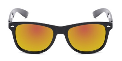 Front of Garnet in Black Frame with Orange Mirrored Lenses