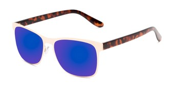 Angle of Gavin #7036 in Gold/Tortoise Frame with Dark Blue Mirrored Lenses, Women's and Men's Retro Square Sunglasses