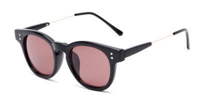 Angle of Geary #540991 in Black Frame with Purple Lenses, Women's and Men's Retro Square Sunglasses