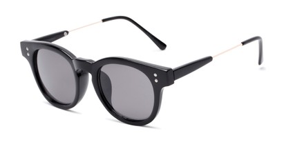Angle of Geary #540991 in Black Frame with Grey Lenses, Women's and Men's Retro Square Sunglasses