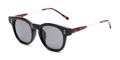 Angle of Geary #540991 in Black/Tortoise Frame with Grey Lenses, Women's and Men's Retro Square Sunglasses