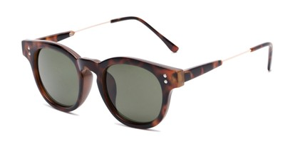 Angle of Geary #540991 in Dark Tortoise Frame with Green Lenses, Women's and Men's Retro Square Sunglasses