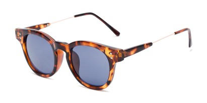 Angle of Geary #540991 in Tortoise Frame with Blue Lenses, Women's and Men's Retro Square Sunglasses