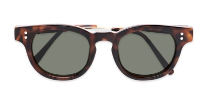 Folded of Geary #540991 in Dark Tortoise Frame with Green Lenses