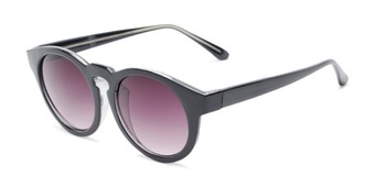 Angle of Dawes #32073 in Black Frame with Smoke Lenses, Women's Round Sunglasses
