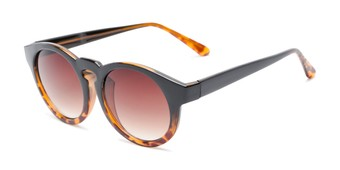 Angle of Dawes #32073 in Black/Tortoise Fade Frame with Amber Lenses, Women's Round Sunglasses
