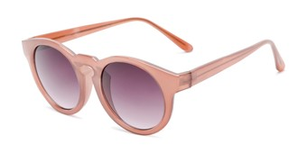 Angle of Dawes #32073 in Rose/Pink Frame with Smoke Lenses, Women's Round Sunglasses