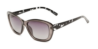 Angle of Geneva #5686 in Grey/Tortoise Frame with Smoke Lenses, Women's Cat Eye Sunglasses