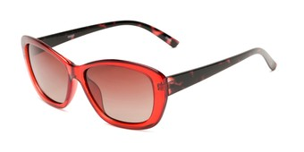 Angle of Geneva #5686 in Red/Tortoise Frame with Amber Lenses, Women's Cat Eye Sunglasses