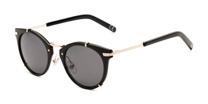 Angle of Gia by Foster Grant in Black/Gold Frame with Smoke Lenses, Women's Round Sunglasses