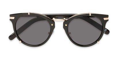 Folded of Gia by Foster Grant in Black/Gold Frame with Smoke Lenses