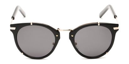 Front of Gia by Foster Grant in Black/Gold Frame with Smoke Lenses