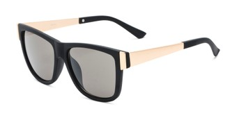 Angle of Gifford #541036 in Matte Black/Gold Frame with Smoke Lenses, Women's and Men's Retro Square Sunglasses