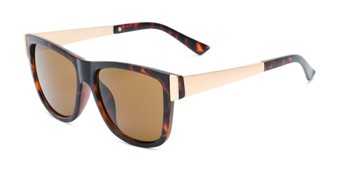 Angle of Gifford #541036 in Matte Tortoise/Gold Frame with Amber Lenses, Women's and Men's Retro Square Sunglasses