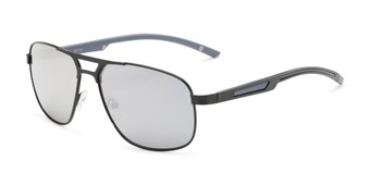 Angle of Gordie #8317 in Black Frame with Silver Mirrored Lenses, Men's Aviator Sunglasses